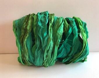 Silk Sari Ribbon-Recycled Green Mix Sari Ribbon-10 Yards