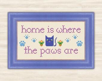 Buy 2 get 1 free Cat's paw Cross Stitch Pattern PDF kitten home decor animal lovers pattern kitty paw pattern embroidery pet Hand Made cat