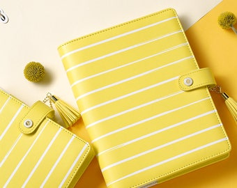 DOKIBOOK White Stripes A5 A6 Faux Leather Organizer Planner Notebook Binder PU Yellow