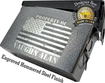 Personalized Ammo Can - American Flag Design - Precison Engraved & 100% Made in USA to Mil Spec.-NEW! Now w/Foam Insert and Locking Options!