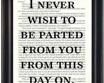 Jane Austen Book Page Print Austen Fandom Book Lovers Gift I Never Wish To Be Parted From You From This Day On