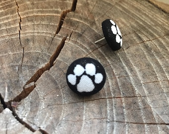 Black with white paw print fabric button earrings