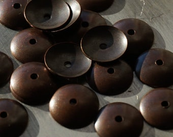 20 Copper Bead Caps 10mm
