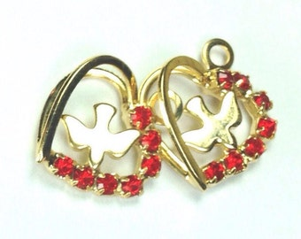 Red Rhinestone heart earring and pendant charms, religious pendant charm, dove charm, pendant set, red heart charms