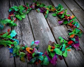 Lights, Handmade, Ribbons, Batik, Home, Garland, Photo Prop, Shabby Chic