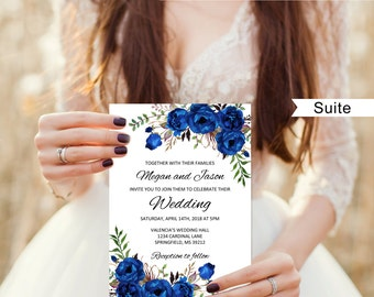 Blue wedding invite etsy royal blue wedding invitation blue wedding invitation template boho chic wedding invitation suite filmwisefo
