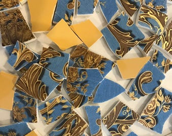 Mosaic tiles - china tiles - blue and gold