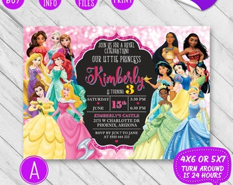 Princess invitations Etsy