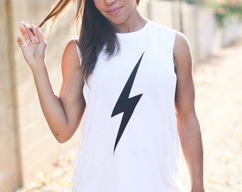 Lightning Bolt Shirt. Women's Crew Neck Tank. Boyfriend Muscle Tee. Made in the USA. Customizable Tank Top. Women's Tank Top. Women's Gift.