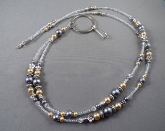 """Beaded breakaway lanyard beige and gray glass pearls and crystals 32"""" to 44"""" ID badge holder with magnetic or toggle clasp  ,unique fashion"""