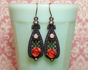 Vintage Style Dangle Earrings, Red Rose Earrings, Victorian Style, Antique Style, Romantic Style, Rose and Pearl, Victorian, B'sue by 1928