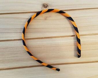 Halloween, Ribbon Wrapped Headband, Black and Orange