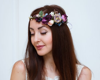 Boho flower crown  Bridal floral crown Wedding flower crown Flower crown Floral head wreath Girl flower crown Floral crown