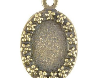 Castings-20x32mm Flower Border Bezel-Antique Bronze-Quantity 1