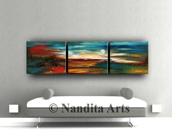"""LARGE LANDSCAPE PAINTING, Decorative Art, 72"""" Abstract Painting Turquoise Home & Living Room Wall Art Landscape Art Artist Nandita Albright"""