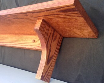 """48"""" Solid Oak Wall Shelf Mission Arts and Crafts (9 Available Colors)"""