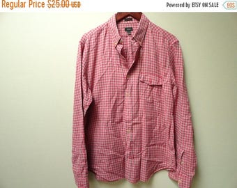 SALE Red Plaid Shirt - J. Crew - Size L Large Slim Fit