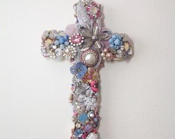 Jeweled, jewelry cross, wall decor, vintage jewelry, brooches, earrings, crystal beading , specialty gift