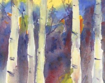 Mountain Aspens Original Watercolor / Aspens Trees Art by Connietownsart