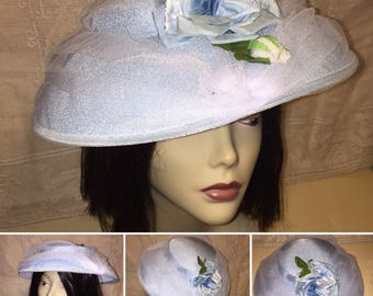 Vintage 1950s 1960s Womens Ladies Woven Hat Baby Powder Blue with Tulle Netting Church Sunday Wedding Hat