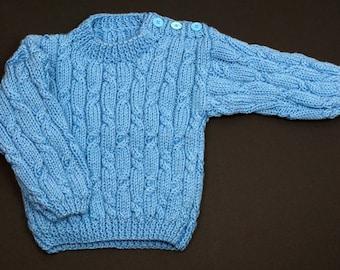 Button Shoulder Sweater - Blue
