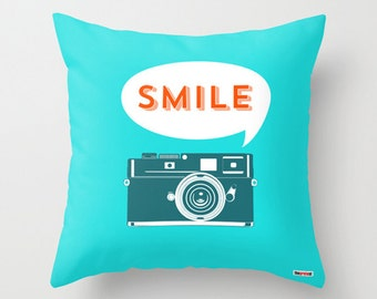 Decorative pillow cover - Blue pillow cover - Couch pillow - Camera pillow - Smile pillow - gifts for kids