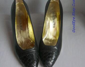 Vintage BOTTEGA Veneta Woven Leather Shoes / sz 9 aa Eu 40 UK 6.5 Narrow Width / High Heels Pumps Dark Blue  / made Italy