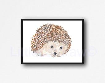 Hedgehog Print Watercolor Painting Print Cuddly Hedgehog Print Woodland Animal Art Print Hedgehog Lover Gift Wall Art Wall Decor