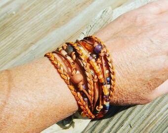 Boho Wrap Bracelet,  Leather Wrap Bracelet,  Leather Wrap,  Beaded Wrap,  Leather Bracelet,  Wrap Leather JEWELRY