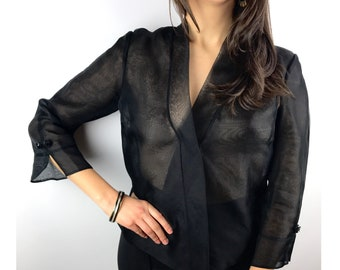 90's vintage black sheer wrap around blouse with cropped sleeves