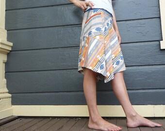 Everyday Skirt, Cotton, Organic Bamboo, Stretchy Waist, Peach, Blue, Women, Pocket Skirt, Long Skirt, Festival Skirt, Stripes, Stylish Skirt
