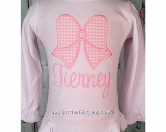 Gingham Bow Monogram Shirt - Girls