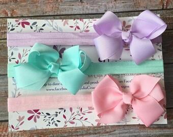 3 Bow Headbands, Bow Headband Set, Baby Headbands, Newborn Headband, Baby Girl Headband, Toddler Headband, Infant Headband, Baby Shower Gift