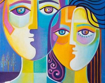 Abstract Cubism Original Oil painting canvas Marlina Vera Fine Art Gallery artwork Couple Picasso Style Cubist modernism peinture Pop fauve