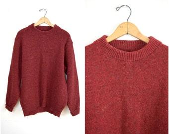 Vintage men's L.L. Bean red woolpullover sweater / maroon crewneck knit ski sweater