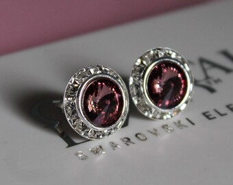 Antique Rose Crystal 13mm Silver Stud Earrings made with Swarovski Crystal Elements