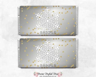 Gold & Silver Glittery Snowflakes Frozen Winter Wonderland  | Candy Bar Wrappers Full Size | Digital Instant Download