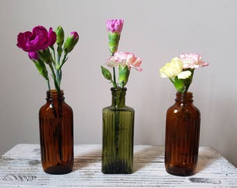 Three Vintage Glass Bottles | Perfect As Mini Vases | Vessels