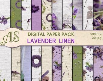 Digital Lavender Linen Paper Pack, 20 printable Digital Scrapbooking papers, floral linen Fabric Digital Collage, Instant Download, set 89
