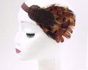 Brown Pheasant Feather Headband 1920s Flapper Headpiece Vintage Races Hair 3662