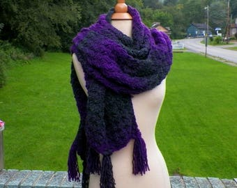 Purple Scarf Super Blanket Giant Wrap Shawl Stole Gray Oversized Extra Long Winter Chunky Cowl Womens