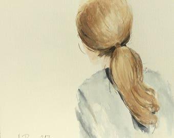 Original watercolor blonde Ponytail girl Nostalgia