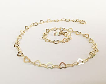 anklet with s double chain anklets b heart fine ebay bracelet gold open bn real yellow ankle rolo
