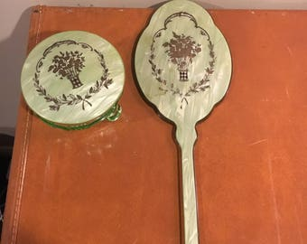 Vintage green DuPont mirror and powder set