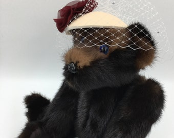 Teddy Bear Mink Fur upcycled, Fully Jointed, Vintage, Soft, Handmade, Stylish, Collectible, OOAK, Elegant, Beautifully Stylish, Dark Brown