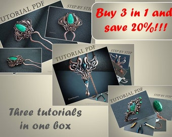 3 in 1 Tutorials wire wrapped hair pin, bracelet and pendant PDF, wire wrap tutorial, tutorial wire wrap jewelry, wire tutorial