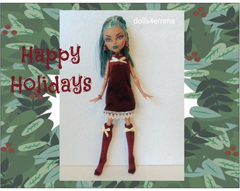 NEFERA Monster High Doll Clothes - Holiday Dress, Socks and Jewelry - Custom Fashion by dolls4emma