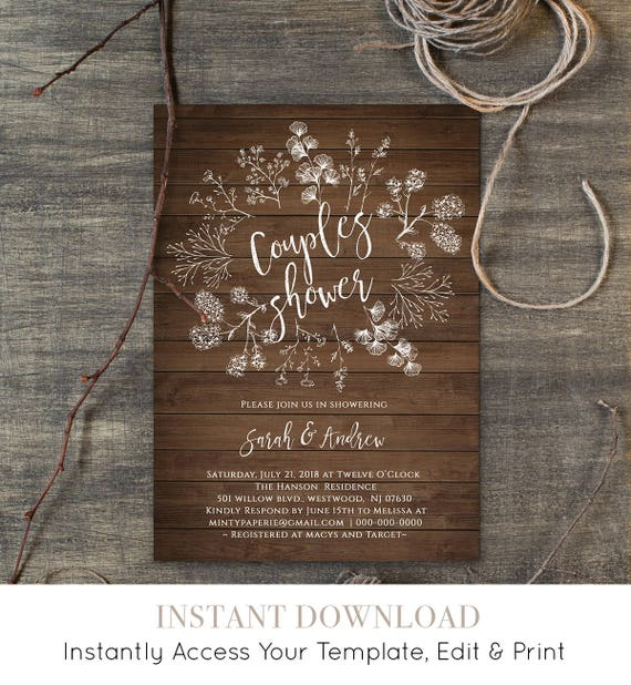 Couples Shower Invitation Template, Wedding Shower Printable, DIY Rustic Wood Wreath Bridal, Instant Download, Editable Template #018-107BS