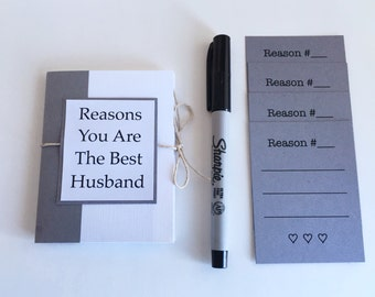 Reasons You Are The Best Husband, Anniversary Gift, Gift for Husband, 4x3 Book, Mini Card, Pocket Book,  Mini Love Notes, Mini Reasons Book
