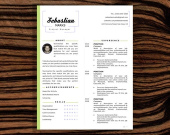 SALE! RESUME Template, CV Template & Cover Letter, Word Document, Editable Resume, Instant Download, 2 Page Resume